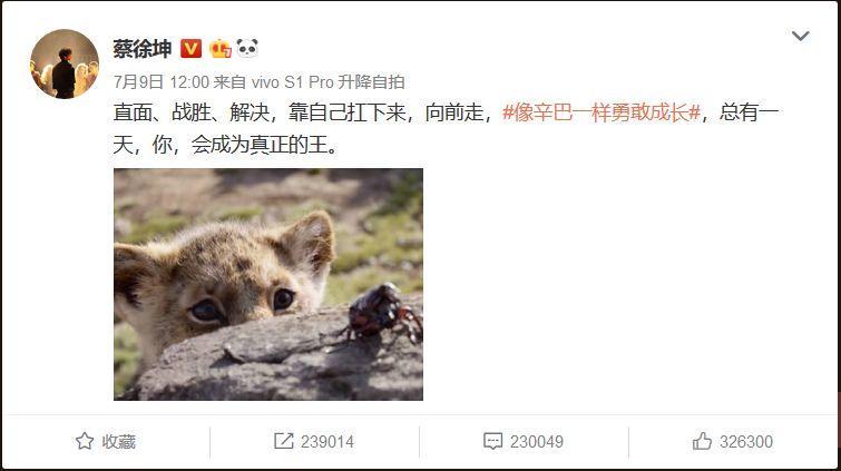 请蔡徐坤宣传《狮子王》,迪士尼怎么想的?